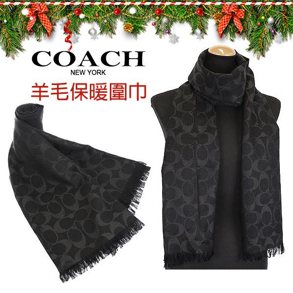 COACH黑色C Logo羊毛混絲保暖流蘇圍巾 秋冬新款