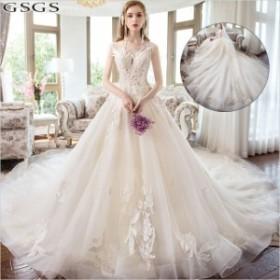 花嫁ドレス ウェディングドレス 結婚式 ノースリーブ ワンピース パーティードレス ウエディング 華やかドレス