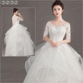 545b7dbb5d79f 花嫁ドレス ウェディングドレス 結婚式 ワンピース レース ウエディング プリンセス 華やかドレス レース 花嫁ドレス