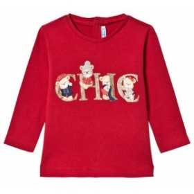 Tシャツ 長袖 トップス キッズ 女の子【Mayoral Red Chic Bear Print Long Sleeve T-Shirt】
