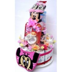 出産祝い オムツケーキ 3段おむつケーキ ディズニー3R 女の子用ミニー 華やかな見栄えの豪華版 ダイバーケーキ