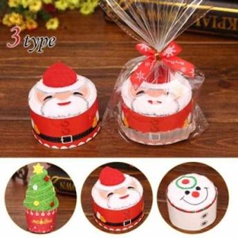 クリスマス ケーキタオル/3枚セット/サンタと雪だるまとクリスマスツリーケーキタオル/綿/3030cm/クリスマス装飾/サ