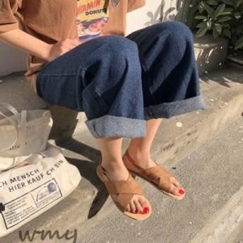 クロスベルトストラップコンフォートサンダル 韓国 オルチャン アメカジ ストリート ローヒール 大人 ぺたんこ ガーリー 原宿系