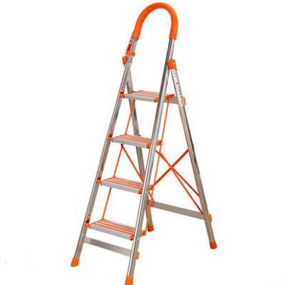 【加厚不銹鋼折疊梯-03-六步梯-54x120x181cm-1套】單側梯人字梯伸縮加寬踏板梯步-7201006