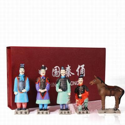 【兵馬俑擺件玩具-5件套-樹脂-高13cm-1套1組】特色工藝品紀念品餽贈親朋好友多款可選-36001