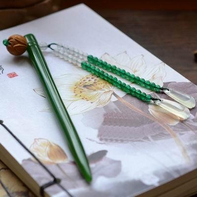 【玉髮簪-碧玉髮簪荷花步搖-頭寬8.5-9.7-杆長165-170mm-1支1組】手工雕刻翠綠簪子含禮盒-30104