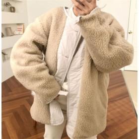 コート レディース アウター ジャケット ボア シンプル 無地 きれいめ おしゃれ 可愛い 秋冬 防寒 暖かい