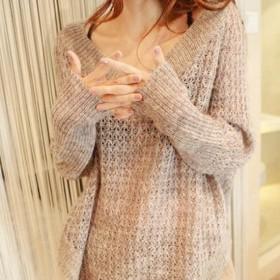 ニット レディース セーター 長袖 トップス ゆったり 大きいサイズ カジュアル リブニット ケーブル編み ざっくり_01
