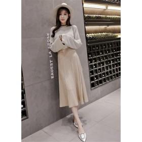 送料無料 Fashions、2018新品 韓国ファッション CHIC気質 ニット Aライン プリーツスカート