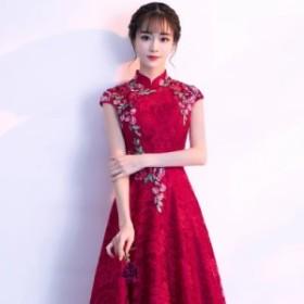 膝丈ワンピース ドレス 刺繍 レース フェミニン 赤レッド パーティー ドレスアップ 二次会 お呼ばれ チャイナ風 袖あり フレア