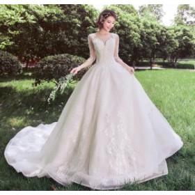ウェディングドレス 超豪華 結婚式 花嫁 お姫系 手作り レース袖 新品  ハーフスリーブドレス  ブライダル ロングドレス WS-300
