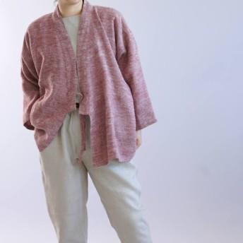 【wafu】厚地 起毛 リネン 作務衣 男女兼用 暖かい 織 和装 霜降り カーディガン/茜色 h037b-aki3