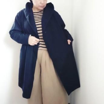 圧縮ウール100%☆さっと織れるフード付きコーディガン☆カーディガン☆コート☆濃紺☆ネイビー☆