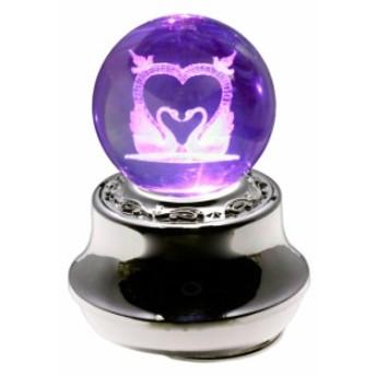 3Dクリスタル 18弁オルゴール 曲目:One Love(嵐) LEDライト内蔵 =スピカ= 絵柄:ハートスワン