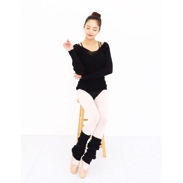 【バレエ用品】 大人 バレエニットトップス★ バレエセーター★ウォームアップニット★ブラック★Vネック★ ニット