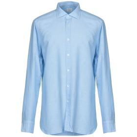 《セール開催中》CALIBAN メンズ シャツ スカイブルー 39 コットン 55% / 麻 45%