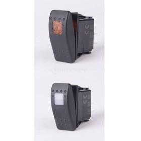 全10点 短絡保護 LEDインジケータ付き オン/オフ 防水 ロッカートグルスイッチ 12-24V 3色選択 - ホワイト+オレンジ