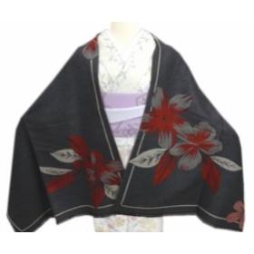 大判ショール(ストール・ひざ掛け)濃グレー色地紅桜 和装着物&洋服に 女性用レディース