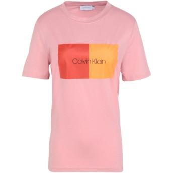 《期間限定セール開催中!》CALVIN KLEIN レディース T シャツ ピンク XS 100% コットン DUO LOGO PRT T-SHIRT