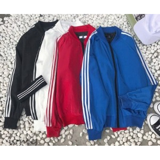 袖3本フルジップアップジャケット 韓国 ストリート スポーティー 原宿系 衣装 ゆったり ナイロン ダンス ジャージ