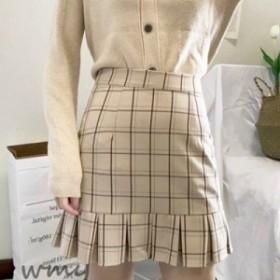 裾プリーツが大人可愛い チェック柄ミニスカート S 韓国 モテ M タイト メール便OK オルチャン ガーリー