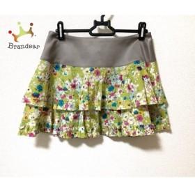 マニアニエンナ ミニスカート サイズF レディース 美品 グレー×ライトグリーン×マルチ 花柄               スペシャル特価 20191029