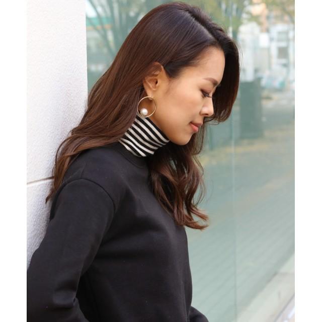 Tシャツ - REAL STYLE タートルネック付け襟ボーダー レディース トップス つけ襟 付け衿 つけ衿 レイヤード 重ね着 シンプル ベーシック ハイネック小物雑貨 首つまり インナー ストレッチ 伸縮性 あったか 温か 暖か 韓国ファッション 秋冬