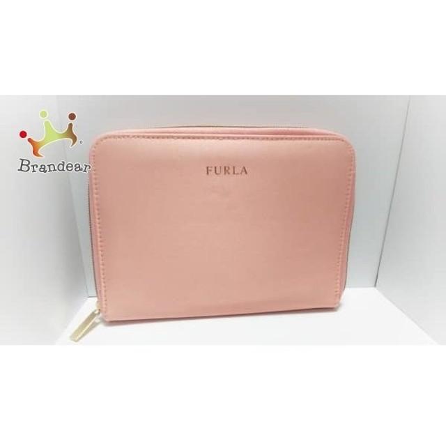 673b7c73d175 フルラ FURLA 財布 美品 ピンク ラウンドファスナー サテン 新着 20190216