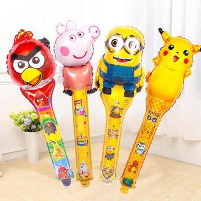 【兒童手持棒氣球-65cm-12個】鋁箔氣球卡通球拍派對生日用品(可混搭-送氣筒)-7201015