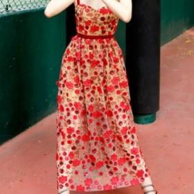 花柄ワンピース ロング丈 ワンピ ノースリーブ 肩ひもストラップ 刺繍 個性的 レトロ リゾート 沖縄リゾート ハワイ 30代 40代