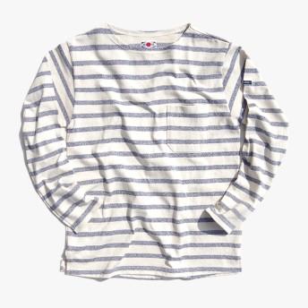 Tシャツ - BIRIGO マックアイ メンズ バスクシャツ MACEYE 773702 TASUKI 無地 ボートネック 長袖 TEE 襷 1947 Tシャツ日本製 MADE IN JAPAN