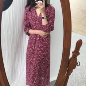 ロングスカート 秋ファッション ゆったり 花柄 ロングドレス ガーリー 可愛い 個性的 デート 人気 Vネック ゆるふわ 着痩せ
