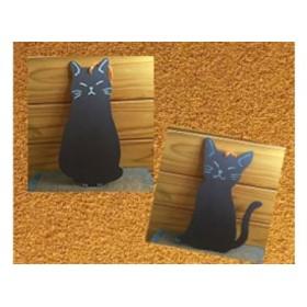 猫シルエット黒板4枚セット(黒)