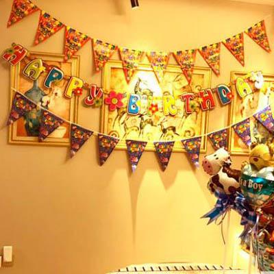 【生日三角旗-旗20x28-總長250cm-10面-條-3條】派對生日婚慶佈置掛旗(可混搭)-7201015