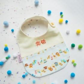 純粋な綿のダブルレイヤー糸刺繍肩 - 黄色の動物園