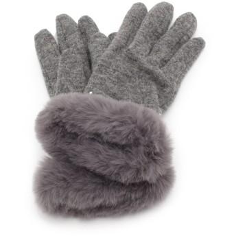 手袋 - SHOO・LA・RUE ラインストーン リボン×フェイクファー グローブ