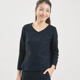 シャツ ブラウス レディース ベルメゾン 裾シフォンツイードブラウス 「ネイビー系」,179) %>