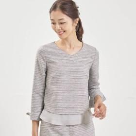 シャツ ブラウス レディース ベルメゾン 裾シフォンツイードブラウス 「グレー系」,179) %>