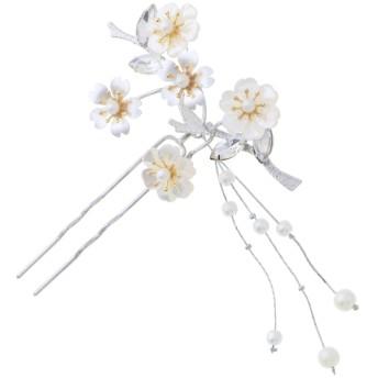 ヘアアクセサリー全般 - KIMONOMACHI 花月 かんざし「シルバー 桜」髪飾り フォーマル 礼装かんざし 訪問着、留袖向け F18-033 パ 花月ピン