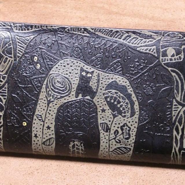 7fd7ad05769d 猫のデザイン バッグ 財布等 レザークラフト ロング財布 WA catwalk oikawa