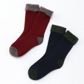 靴下 レッグアイテム メンズ 2足組・メンズ裏起毛色切替あったかソックス 「アソート」,179) %>