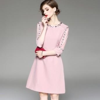 花柄 刺繍 ひざ丈 ワンピース ドレス 袖あり ピンク お呼ばれ 20代