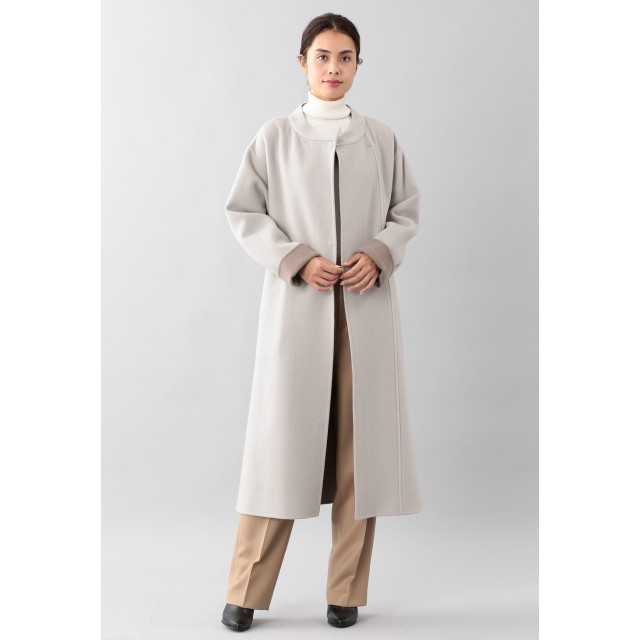 SANYO COAT <DoubleFaced Coat>ウールリバーラップコート その他 コート,オフホワイト