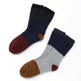 靴下 レッグアイテム メンズ 2足組・メンズ2重編み裏モコ色切替あったかソックス 「アソート」,179) %>