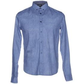 《送料無料》ARMANI JEANS メンズ シャツ アジュールブルー L 100% コットン