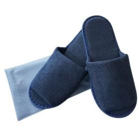 東急ハンズ コンサイス パイル地スリッパ 巾着付 ネイビー