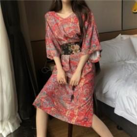 花柄 リゾート ひざ丈 ワンピース ドレス レッド ボヘミアン 20代 30代