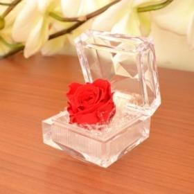 誕生日 記念日 プレゼント 赤いバラ(ミニ) プリザーブドフラワー と バラ 模様 ハンカチ ギフトセット y150034