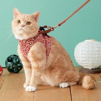 ハンドルベスト (猫用ハーネス) 唐草・赤・約・着丈14xバスト40-44cm