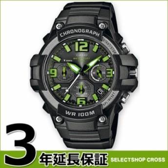カシオ CASIO チープカシオ クロノグラフ 100M防水 チプカシ メンズ 腕時計 ブラック×グリーン MCW-100H-3A 海外モデル